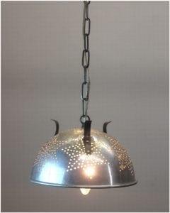 Vintage Retro Colander Strainer Pendant Light Fixture Repurposed Ceiling Lamp