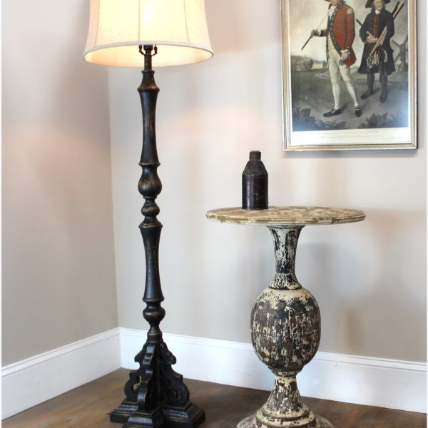 """Black Floor Lamp """"La Femme"""" Aged Black Painted French Country Finish & Shade"""