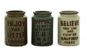 Set of Three Porcelain / Pottery Jugs Hand Made with Inspirational Fun Sayings Canisters