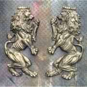 Big Royal English European Lion Crest Wall Art Pair – Painted Non Rust Aluminum