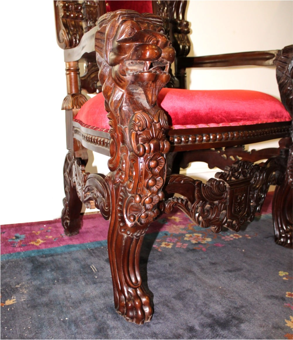 Big Mahogany Throne Lion Chair - King Queen Prince Princess Antique Red  Velvet - The Kings Bay - Big Mahogany Throne Lion Chair - King Queen Prince Princess Antique
