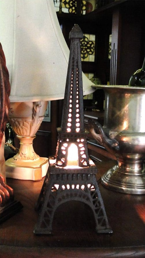 Eiffel Tower Night Light CAST IRON Sculpture French Paris Hand Made End Side  Table Lite