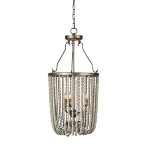 Aged Gray White Wood Beads The Drape Chandelier – The Kings Bay