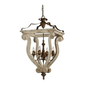 Large Wood and Metal Aged Cottage White with Rust Metal Chandelier