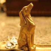 Cute Little Gold Leaf Hound Dog Sitting on Bone Jewelry Holder Stand