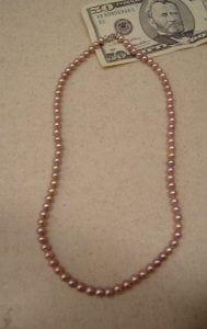 Real Genuine PINK PEARL Necklace New Jewelry 17″ SUPER Sale