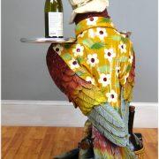 Drink Serving Parrot Butler Bird Statue w Silver Tray 3′ Restaurant or Kitchen
