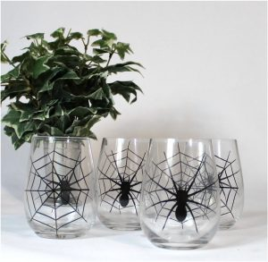Clear Glass Liquor Glass Set of 4 Pcs Spiders and Webs Spooky and Fun Bar Set