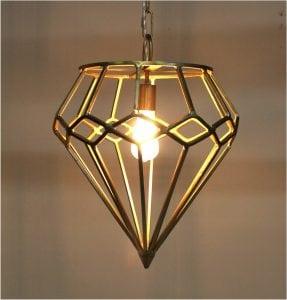 Gold Diamond Shape Pendant Chandelier Light Fixture Ceiling Mount
