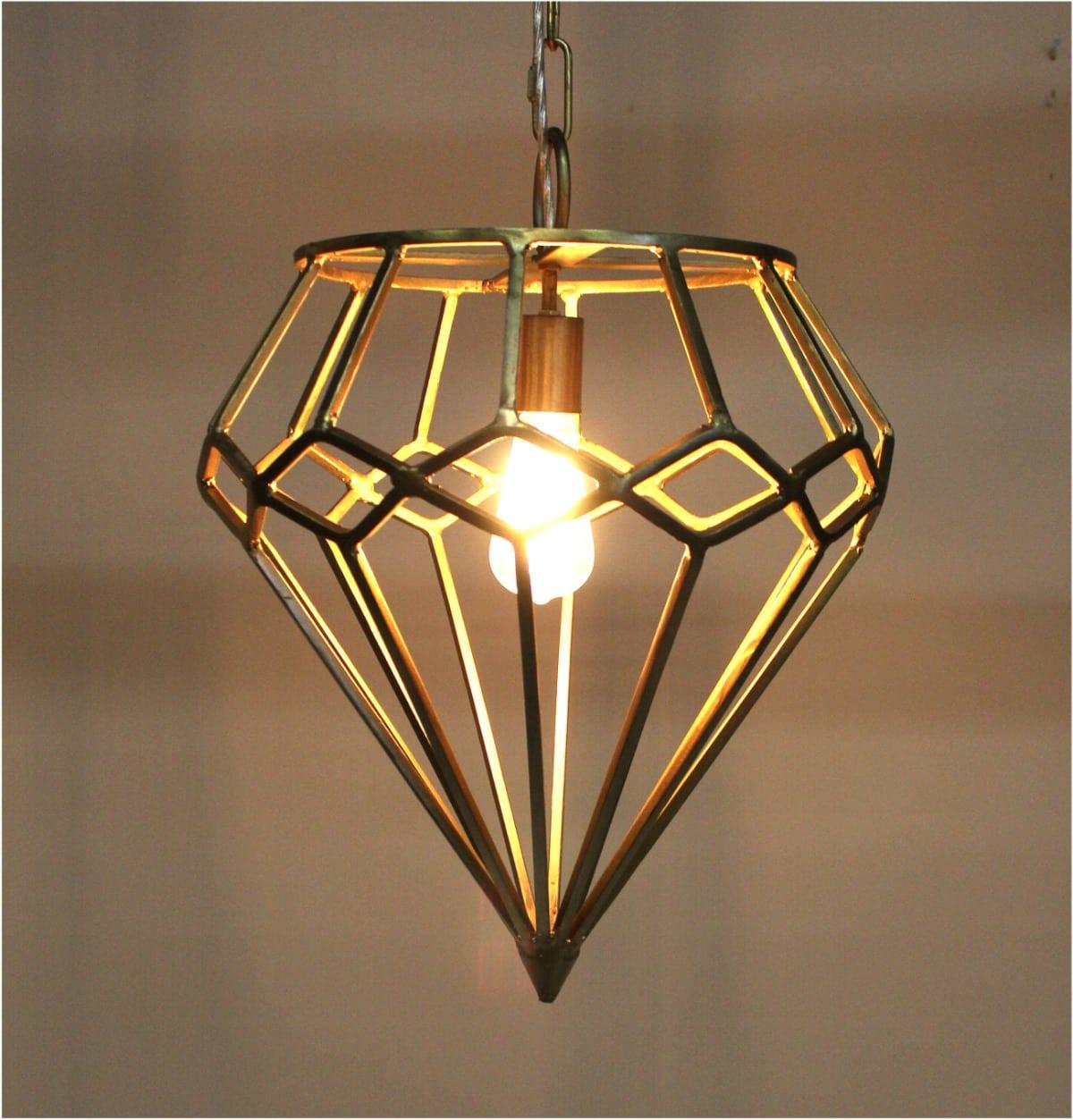 Gold Diamond Shape Pendant Chandelier Light Fixture Ceiling Mount ...