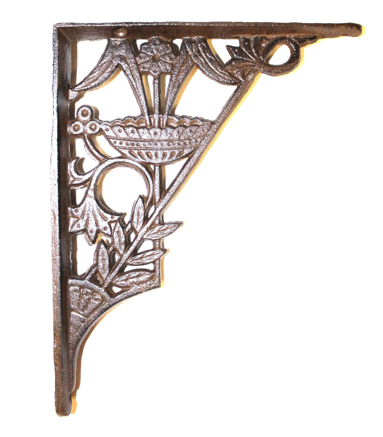 Floral And Leaf Cast Iron Shelf Bracket In Rust Painted Finish The Kings Bay