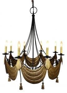 Huge 8 Light Chandelier Black with Gold Swag & Tassels Designer Special