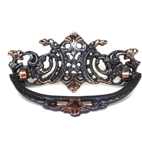 Vintage Victorian Style Cabinet Pull High Relief Copper Age Finish