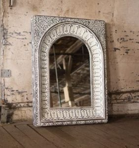 Galvanized Stamped Pressed Metal Tin Mirror in Antique Aged Finish 48″ Tall
