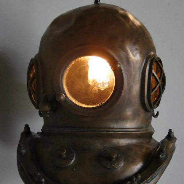 Antique Bronze Finish Mark V Diver's Helmet Pendant Chandelier Old Style Brass