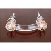 Antique PINK Glass Pull for Cabinet Hardware Dressers Knob 3″ Centers 10 pcs