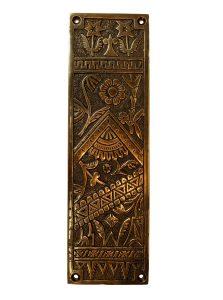 Antique Push Plate Door Hardware Victorian Design Vintage Restoration Replica Hardware Bronze Finish