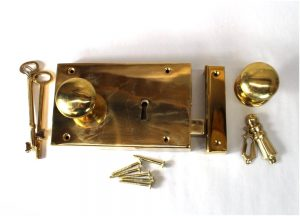 Surface Mounted Antique Replica RIGHT Hand Solid Brass Colonial Rim Lock