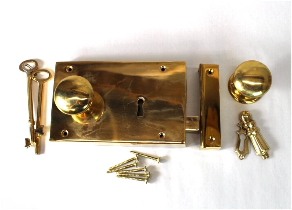 Surface Mounted Antique Replica RIGHT Hand Solid Brass Colonial Rim Lock - Surface Mounted Antique Replica RIGHT Hand Solid Brass Colonial Rim