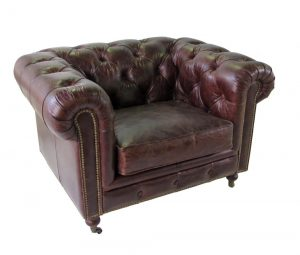 """Tufted Real Leather Airman's Club Chair with Wheels High Design, The """"Wexford"""""""