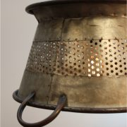 Galvanized Tin Colander Pendant Light 16″ Diameter Antique Style