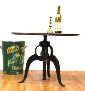 Iron Crank Vintage Side TABLE OLD FASHIONED Factory Industrial 27.75″ Top Dia