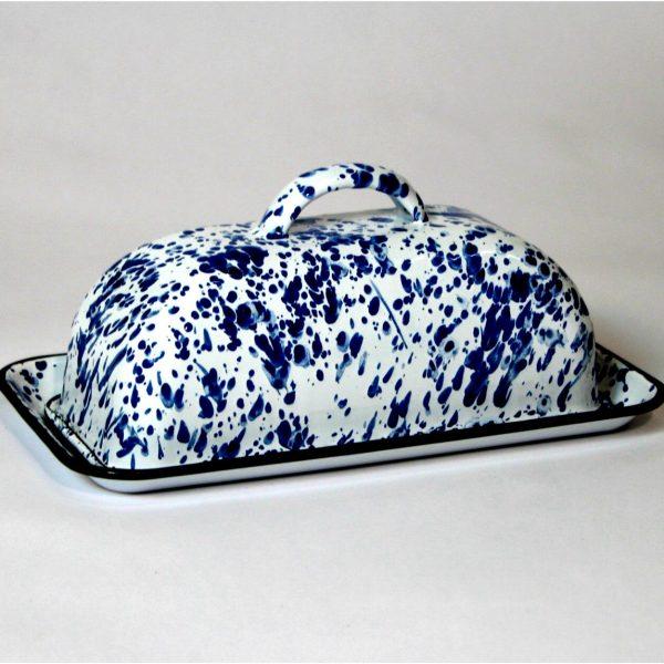 Antique Replica Butter Dish Agate Ceramic Spatterware over Steel Blue & Whtie
