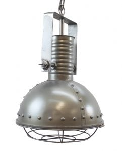Industrial Pendant Factory Dock Light in Steel Aged Silver w Rivets & Cage Cover