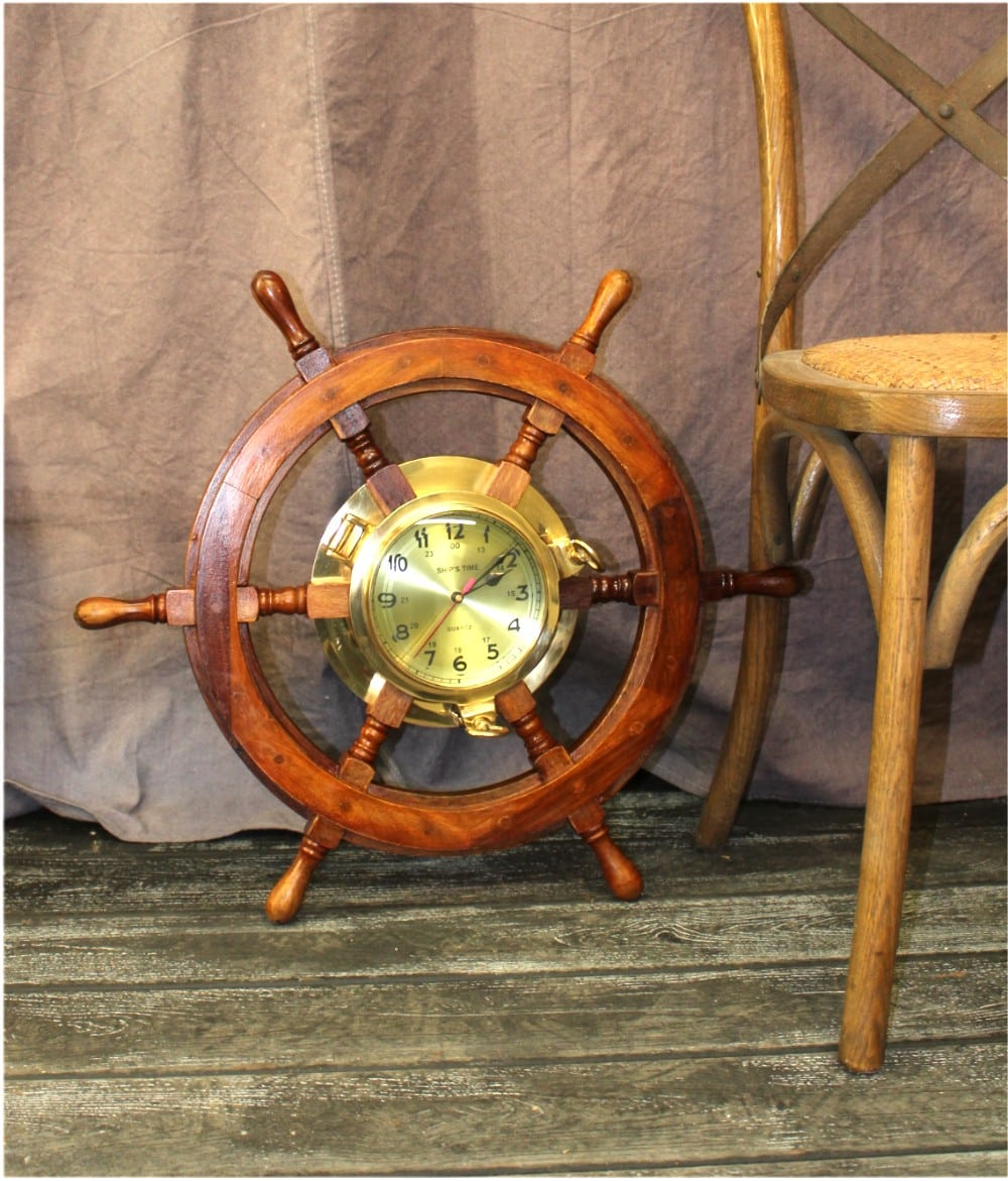 ... Large Ships Wheel Wall Clock In Solid Brass And Wood Ships Porthole