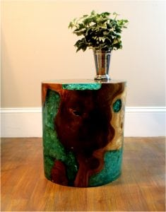 Teak Wood and Blue Lucite Resin Plastic Cylinder End Side Table Night Stand rt1
