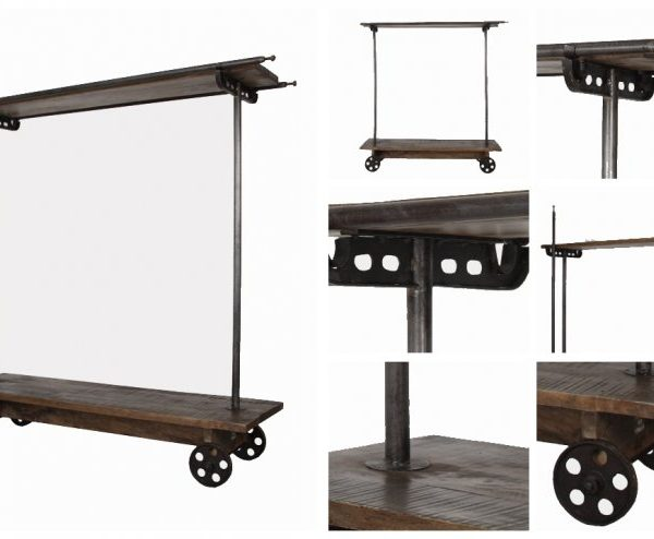 Hotel Rolling Clothes RACK in Factory Industrial Vintage Antique Style