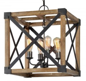 Square Wood and Iron Pendant Chandelier Four Light Aged Finish