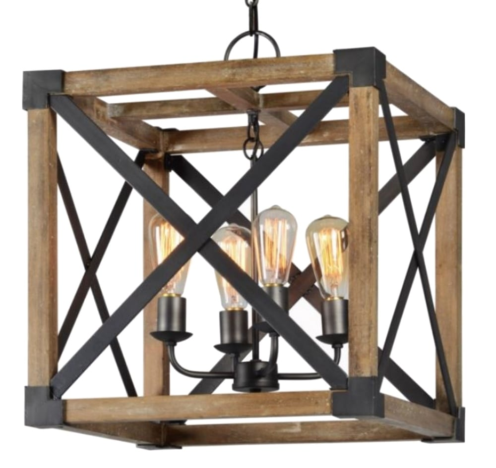 Square Wood And Iron Pendant Chandelier