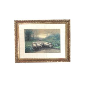 G B Drake 1900 Artwork In Frame Sheep and Girl in Meadow Plate Signed Print
