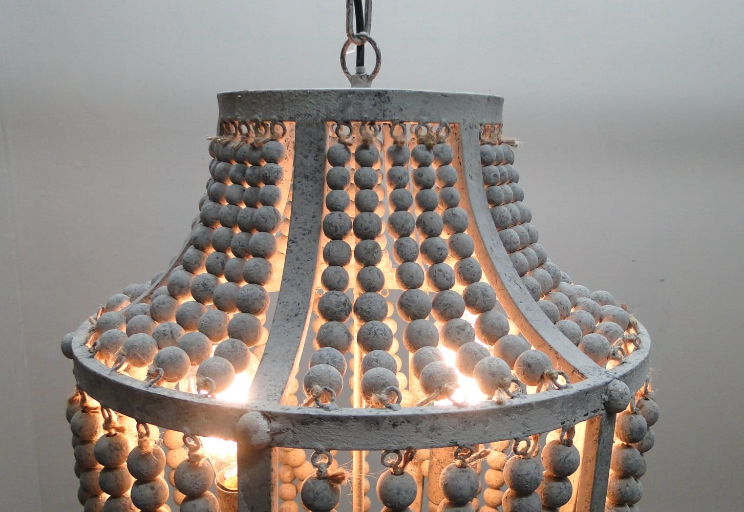 Gray Aged Iron and Wooden Bead Chandelier Hanging Light Fixture ...