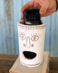 Clay Whimsical Big Mouth Cell Phone Speaker Amplifier with Happy Face