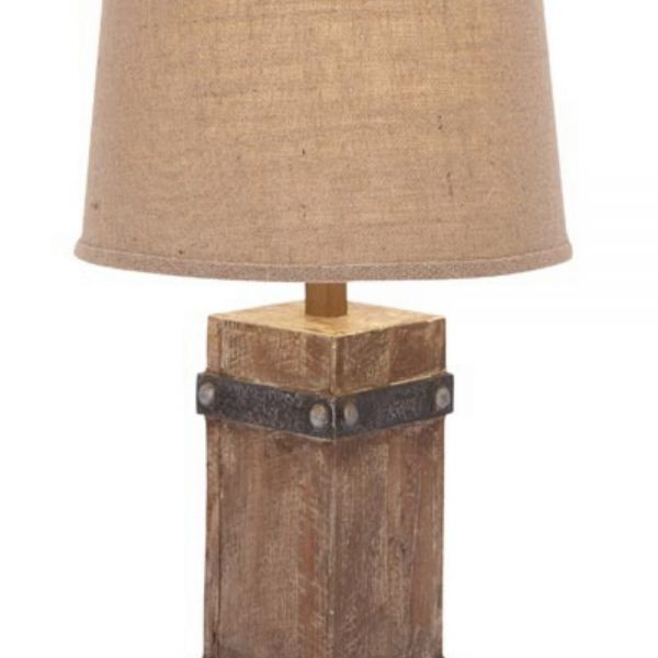 Rustic Nautical Table Lamp with Wooden Base and Round Burlap Cloth Shade