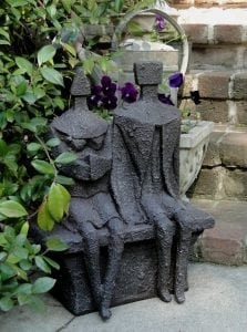 Man and Woman Textured Faux Lava Stone Statue Sculpture Modern Art Bargain Price