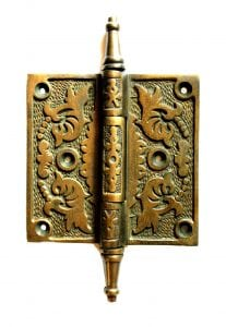 Victorian Aged Bronze Leaf 4″ Solid Brass Door Hinge Antique Old Style Hardware