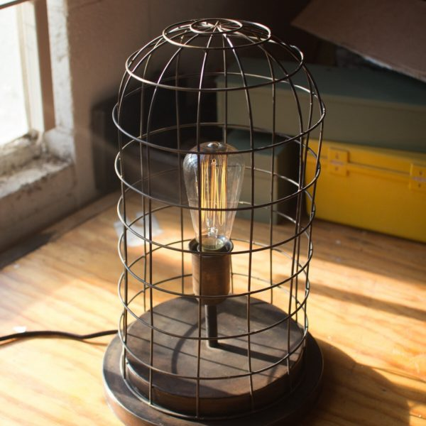 Cage Wired Antique Style Desk or Table Accent Lamp Light Fixture