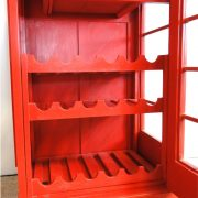 Red English Booth Bar Liquor Cabinet Mahogany Wood Antique Style