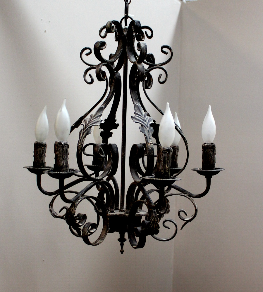 Acanthus leaf french country chandelier w black white aged finish acanthus leaf french country chandelier w black white aged finish painted aloadofball Image collections