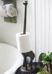 Giraffe Toilet Paper Towel Holder Rust Cast Iron
