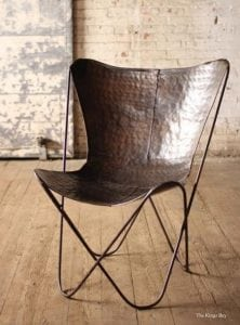 Raw Iron Butterfly Chair in Retro Aged Finish Dark Finish PAIR