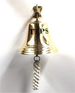 Big Tips Waiter Solid Brass Bar Bell with Rope Man Cave Tavern Pub Nautical