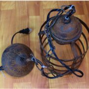 Gothic Regency Rust Iron Cage Pendant Light Fixture w Hanging Chain vintage Styl