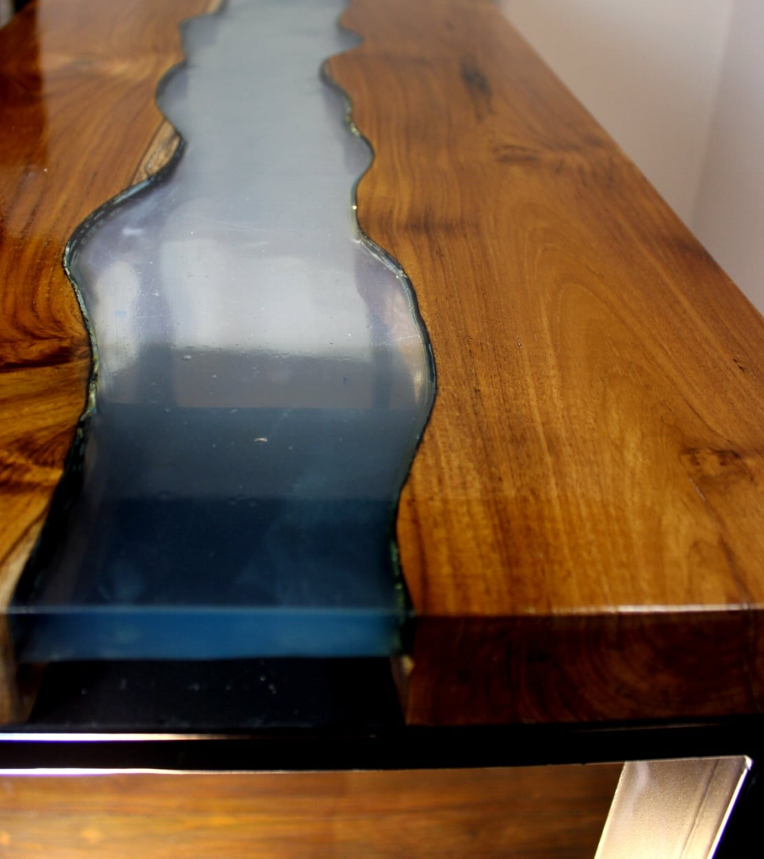 Table W Blue Lucite Stripe And Teak Wood W Modern Black