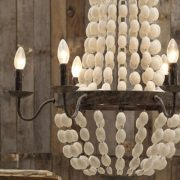 Iron Frame & Wood Wooden Beads Chandelier w 6 Lights Large Fixture Big
