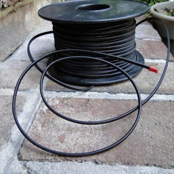 250′ Antique Black Rayon Cloth Electrical Wire, Old Cord Lamp Parts