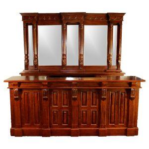 8′ Antique Replica Mahogany Victorian Front & Back Home Bar Sale Item